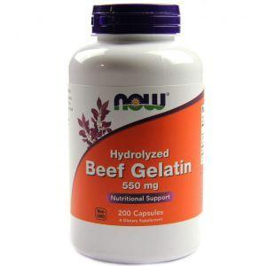 Гидролизат желатина, Beef Gelatin, Now Foods, 550 мг, 200 к