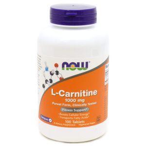 Карнитин тартрат, L-Carnitine, Now Foods, 1000 мг, 100 табл