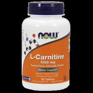 L-карнитин, L-Carnitine, Now Foods, 1000 мг, 50 таблеток