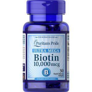 Биотин, Biotin, Puritan's Pride,10 000 мкг, 50 капсул