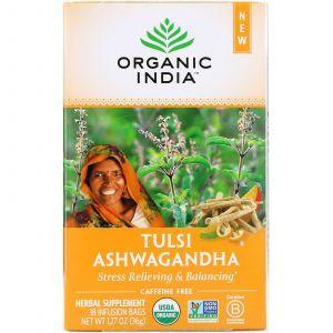 Чай тулси с ашвагандха, без кофеина, Tulsi Ashwagandha,, Organic India, 18 чайных пакетиков, 36 г (Default)
