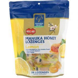 Леденцы с медом Манука, Manuka Honey Lozenges MGO 400+, вкус лимона, Manuka Health, 58 шт. (Default)