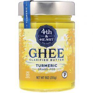 Топленое масло гхи, куркума, Ghee Clarified Butter, 4th & Heart, 255 г (Default)