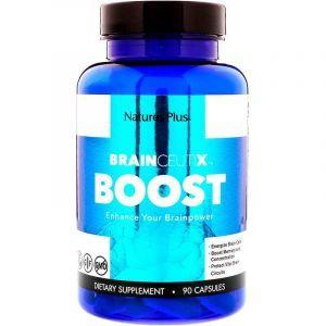 Улучшение работы мозга, Boost, Nature's Plus, Brainceutix, 90 капсул