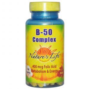 Комплекс В-50,Nature's Life, 100 таблеток