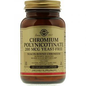 Хром, Chromium Polynicotinate, Solgar, без дрожжей, 200 мкг, 100 капсул (Default)