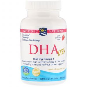 Рыбий жир экстра, DHA Xtra, Nordic Naturals, клубника, 1000 мг, 60 капсул (Default)