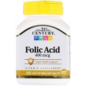 Фолиевая кислота, Folic Acid, 21st Century, 400 мкг, 250 табл. (Default)