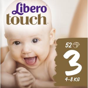 Подгузники детские Libero Touch, ЭсСиЭй Хайджин Продактс, размер 3, 4-8 кг, 52 шт