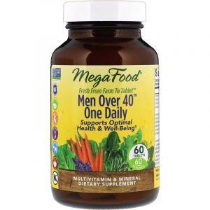 Витамины для мужчин, Men Over 40 One Daily, MegaFood, без железа, 40+, 60 таблеток (Default)