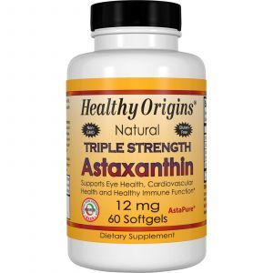 Астаксантин, Astaxanthin, Healthy Origins, 12 мг, 60 гелевых капсул (Default)