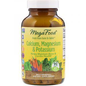 Кальций, магний, калий, Calcium, Magnesium & Potassium, MegaFood, 90 таблеток (Default)