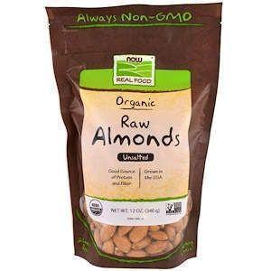 Миндаль, Organic Raw Almonds, Unsalted, Now Foods, 340 г