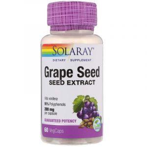 Экстракт виноградных косточек, Grape Seed, Solaray, 200 мг, 60 вегетарианских капсул