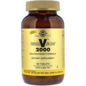 Мулитивитамины формула, Formula VM-2000, Multinutrient Formula, Solgar, 180 таблеток