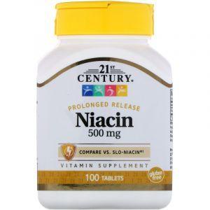 Витамин В3 (ниацин), Niacin, 21st Century, медленное высвобождение, 500 мг, 100 таблеток (Default)