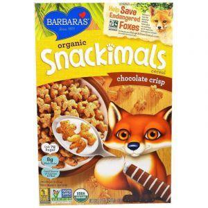Зерновые снеки с шоколадом, Snackimals Cereal, Barbara's Bakery, органик, 255 г