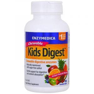 Пищеварительные ферменты для детей, Kids Digest, Enzymedica, фруктовый вкус, для веганов, 90 жевательных таблеток