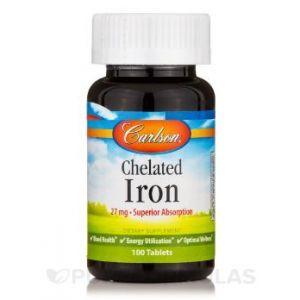 Хелат железа, Chelated Iron, Carlson Labs, 27 мг, 100 таблеток