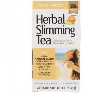 Чай для похудения (персик-абрикос), Herbal Slimming Tea, 21st Century, без кофеина, 24 пак. (45 г) (Default)