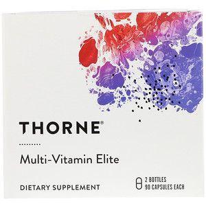 Мультивитамины элит, Multi-Vitamin Elite NSF Certified for Sport, Thorne Research, 2 бутылки по 90 капсул