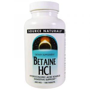 Бетаина гидрохлорид, Source Naturals, 650 мг, 180 таб. (Default)