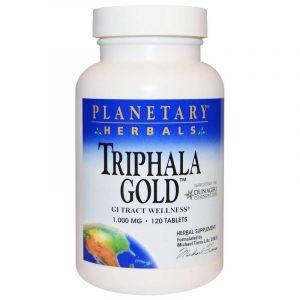 Трифала (Triphala Gold), Planetary Herbals, золотистая, 1000 мг, 120 таблеток (Default)
