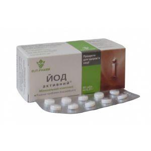 Йод активный, ЭЛИТ-ФАРМ, 50 мкг, 80 таблеток