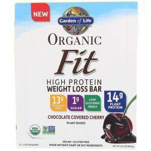 Батончики с растительным белком для похудения, Fit High Protein Bar, Garden of Life, вишня в шоколаде, органик, 12 шт. по 55 г