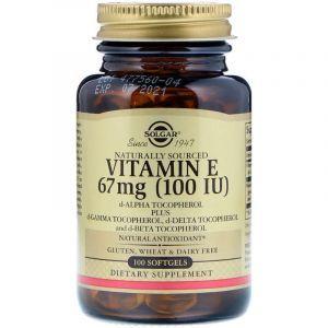 Витамин Е (d-альфа-токоферол), Vitamin E, Solgar, натуральный, 100 МЕ, 100 капсул (Default)