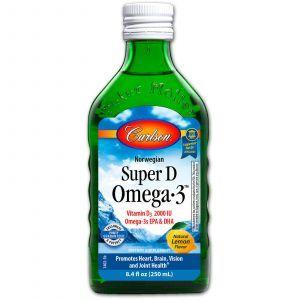 Норвежский рыбий жир с витамином D, Super D Omega·3, Carlson Labs, с лимоном (250 мл).