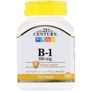 Тиамин, Vitamin B-1, 21st Century, 100 мг, 110 табл. (Default)