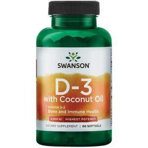 Витамин D3 с кокосовым маслом, Vitamin D3 with Coconut Oil, Swanson, высокоэффективный, 60 гелевых капсул