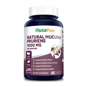 Мукуна жгучая, Mucuna Pruriens, NusaPure, 1000 мг, 200 вегетарианских капсул