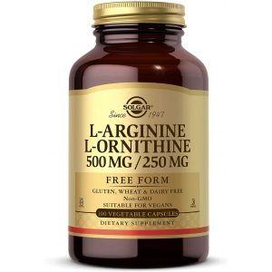 L-аргинин и L-орнитин, L-Arginine L-Ornithine, Solgar, 500/250 мг, 50 вегетарианских капсул
