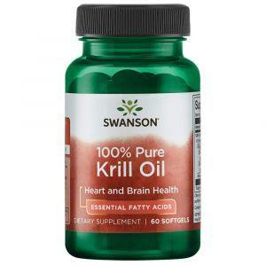 Масло криля, 100% Pure Krill Oil, Swanson, 500 мг, 60 гелевых капсул