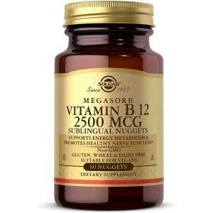Витамин В12, Vitamin B12, Solgar, сублингвальный, 2500 мкг, 60 таблеток