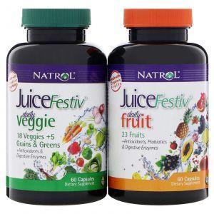 Суперпродукты фруктовые и овощные, JuiceFestiv, Natrol, 2 контейнера по 60 капсул