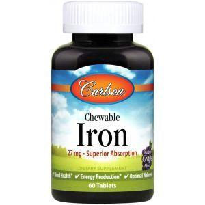 Железо натуральный клубничный вкус, Chewable Iron, Carlson Labs, 30 мг 60 таблеток