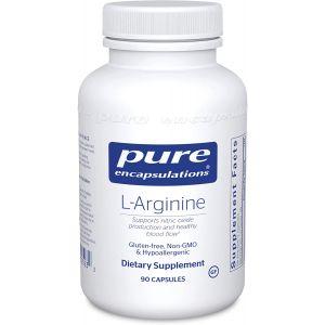 L-аргинин, l-Arginine, Pure Encapsulations, поддержка выработки оксида азота, поддержка иммунитета, памяти, здоровья сердца и здорового кровотока, 90 капсул