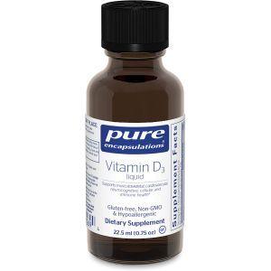 Витамин D3 жидкость, Vitamin D3 liquid, Pure Encapsulations, 22.5 мл