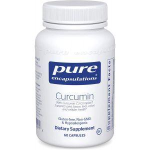 Куркумин, Curcumin, Pure Encapsulations, для поддержки здоровья суставов, тканей, печени, толстой кишки, мозга и клеток, 60 капсул