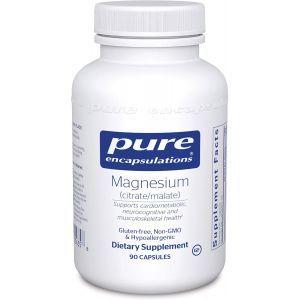 Магний цитрат/малат, Magnesium (citrate/malate), Pure Encapsulations, 90 капсул