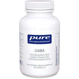 ГАМК, GABA, Pure Encapsulations, поддержка релаксации и уменьшение случайного стресса, 120 капсул