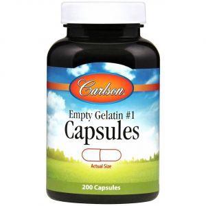 Пустая вегетарианская капсула № 1, Med-SM #1 Empty Vegetarian, Carlson Labs, 200 капсул