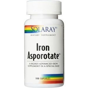 Железо, Iron Asporotate, Solaray, 18 мг, 100 капсул