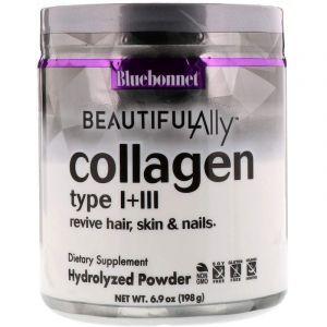 Коллаген тип I + III, Beautiful Ally, Collagen Type I + III, Bluebonnet Nutrition,198 г