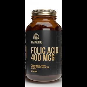 Фолиевая кислота, Folic Acid, Grassberg, 400 мкг, 60 капсул