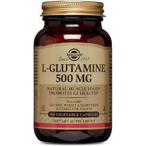L-глютамин,  L-Glutamine, Solgar, 500 мг, 100 вегетарианских капсул
