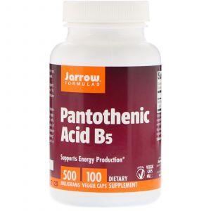 Пантотеновая кислота, Pantothenic Acid B5, Jarrow Formulas, 500 мг, 100 капс. (Default)